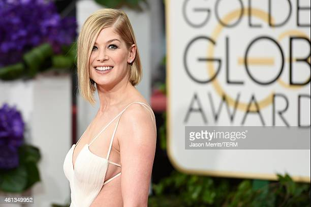 Actress Rosamund Pike attends the 72nd Annual Golden Globe Awards at The Beverly Hilton Hotel on January 11 2015 in Beverly Hills California