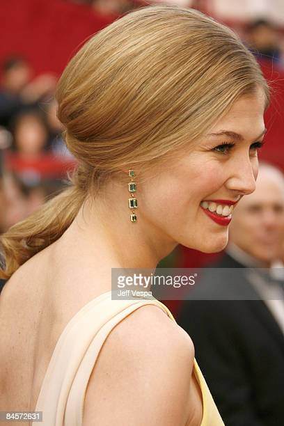 Actress Rosamund Pike attends the 80th Annual Academy Awards at the Kodak Theatre on February 24 2008 in Los Angeles California
