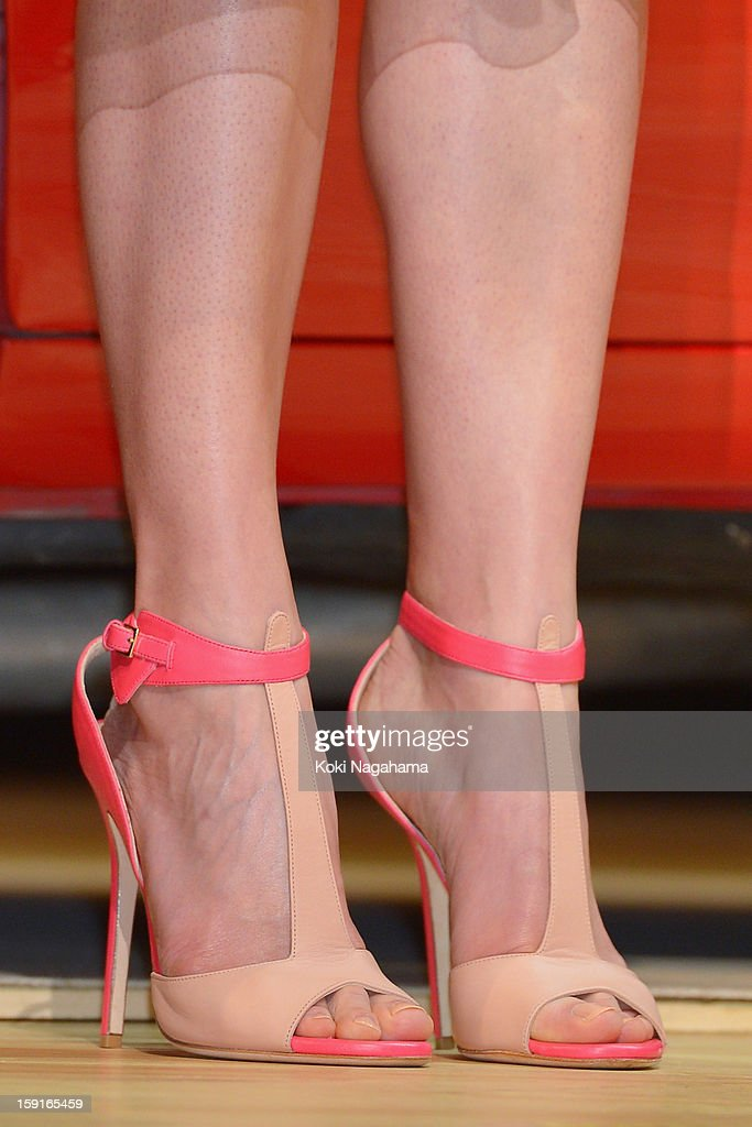 Actress Rosamund Pike (shoe detail) attends the 'Jack Reacher' Japan Premiere at Tokyo International Forum on January 9, 2013 in Tokyo, Japan.