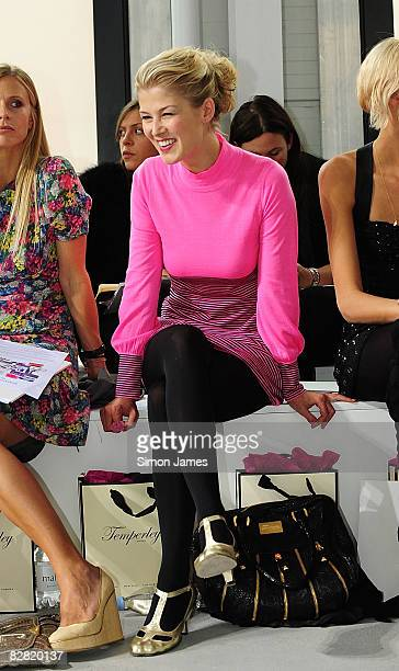 Actress Rosamund Pike attends the Temperley London fashion show at Phillips de Pury Company during London Fashion Week Spring/Summer 2009 on...