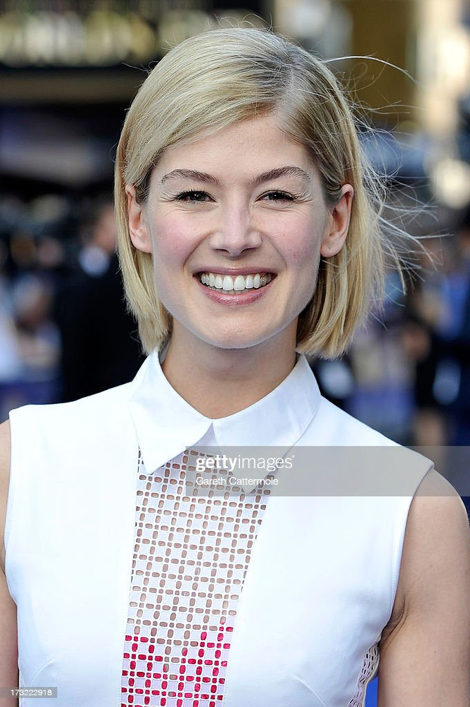Actress Rosamund Pike attends the World Premiere of The World's End at Empire Leicester Square on July 10, 2013 in London, England.