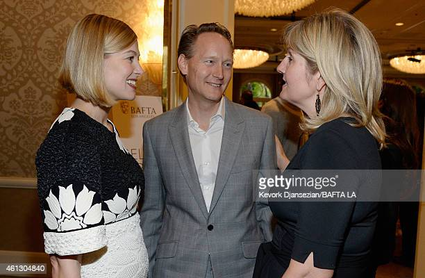 Actress Rosamund Pike British Consul General in Los Angeles Chris O'Connor and Martha Nelems attend the BAFTA Los Angeles Tea Party at The Four...