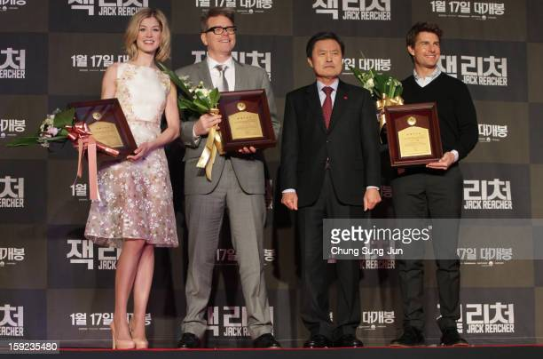 Actress Rosamund Pike director Christopher McQuarrie and actor Tom Cruise receive an honorary citizens of the Busan City from City mayor Huh NamShik...