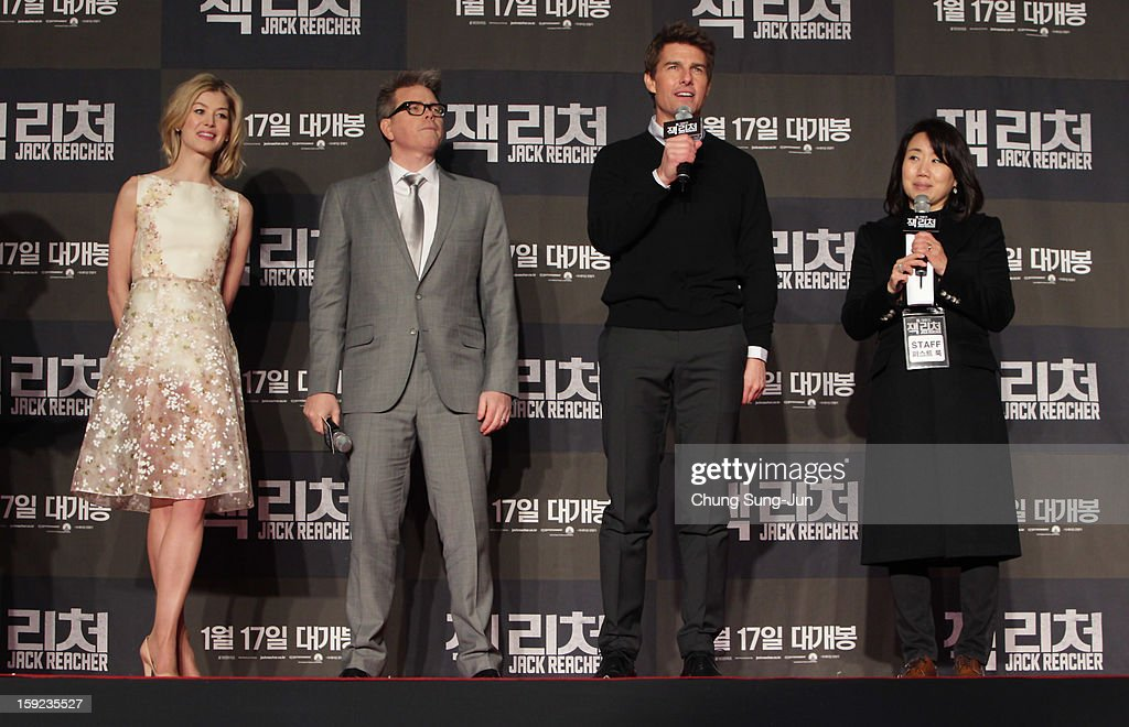 Actress Rosamund Pike, director Christopher McQuarrie and actor Tom Cruise attend the 'Jack Reacher' Fan Screening at Busan Cinema Center on January 10, 2013 in Busan, South Korea. The film will open on January 17 in Korea.