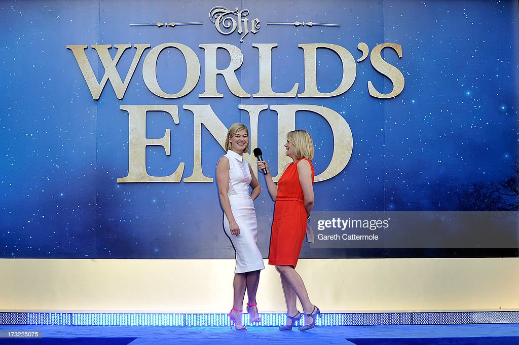 Actress <a gi-track='captionPersonalityLinkClicked' href=/galleries/search?phrase=Rosamund+Pike&family=editorial&specificpeople=208910 ng-click='$event.stopPropagation()'>Rosamund Pike</a> is interviewed by Edith Bowman as she attends the World Premiere of The World's End at Empire Leicester Square on July 10, 2013 in London, England.