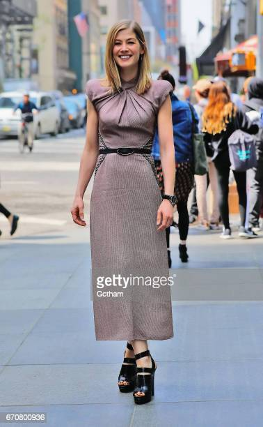 Actress Rosamund Pike is seen in midtown New York on April 20 2017 in New York City