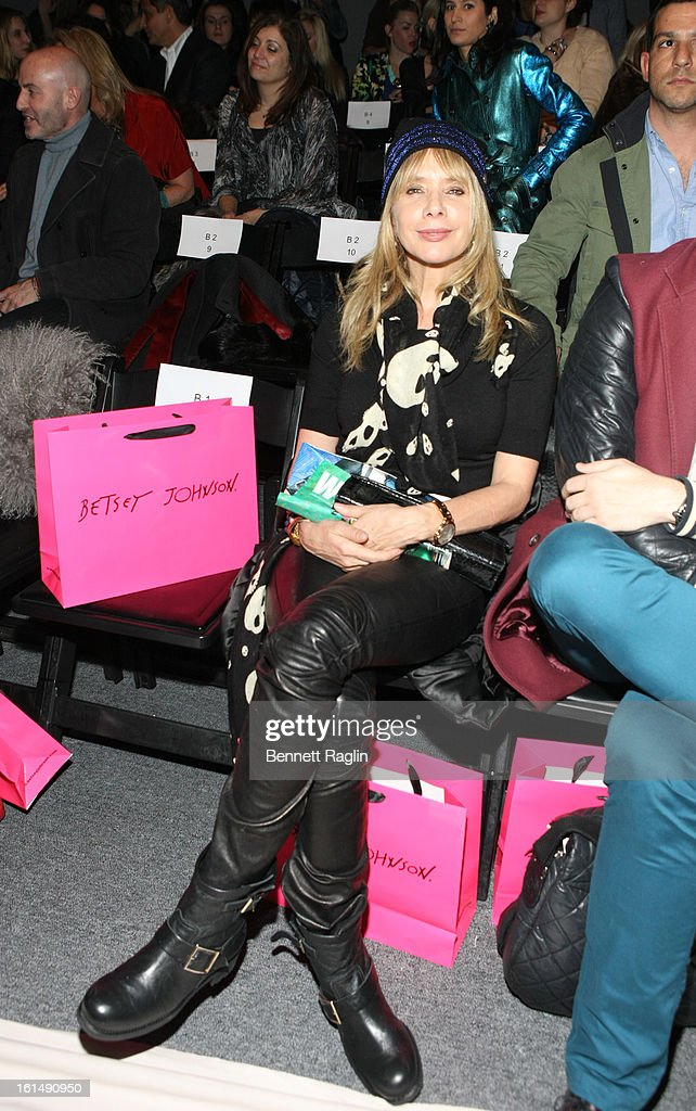 Actress <a gi-track='captionPersonalityLinkClicked' href=/galleries/search?phrase=Rosanna+Arquette&family=editorial&specificpeople=206134 ng-click='$event.stopPropagation()'>Rosanna Arquette</a> attends Betsey Johnson during Fall 2013 Mercedes-Benz Fashion Week at The Studio at Lincoln Center on February 11, 2013 in New York City.