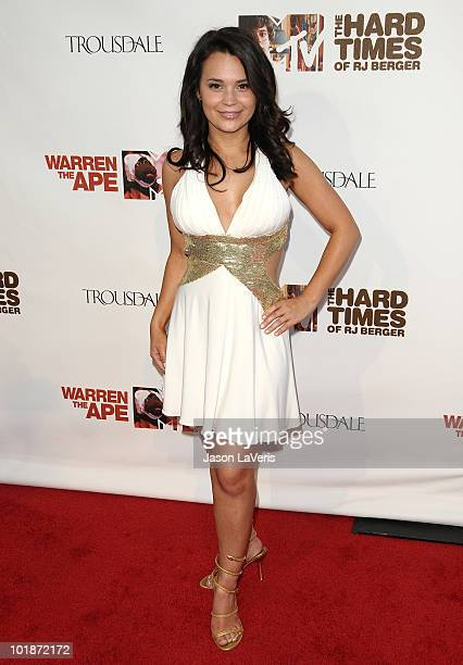Actress Rosanna Pansino attends the MTV series premiere for 'The Hard Times Of RJ Berger' and 'Warren The Ape' at Trousdale on June 7 2010 in West...
