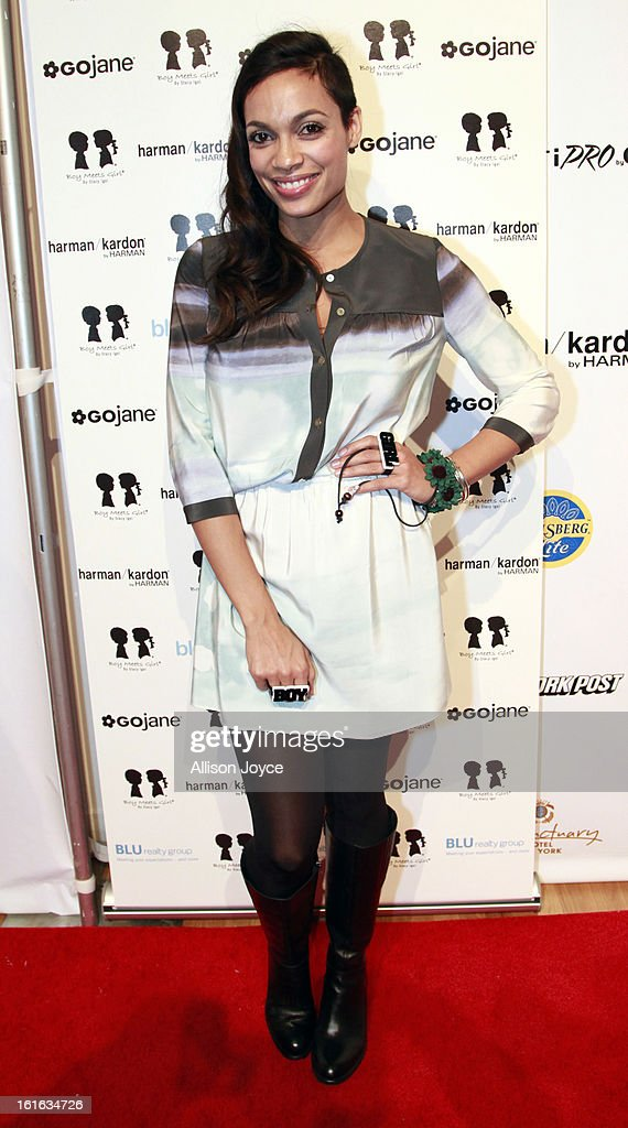 Actress Rosaria Dawson attends the Boy Meets Girl by Stacy Igel fall 2013 fashion show during Conair Style360 at Metropolitan Pavilion on February 13, 2013 in New York City.