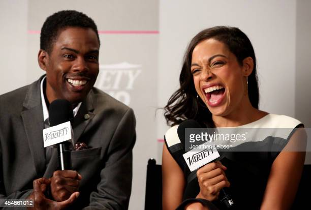 Actress Rosario Dawson and comedian/actor Chris Rock attend the Variety Studio presented by Moroccanoil at Holt Renfrew during the 2014 Toronto...