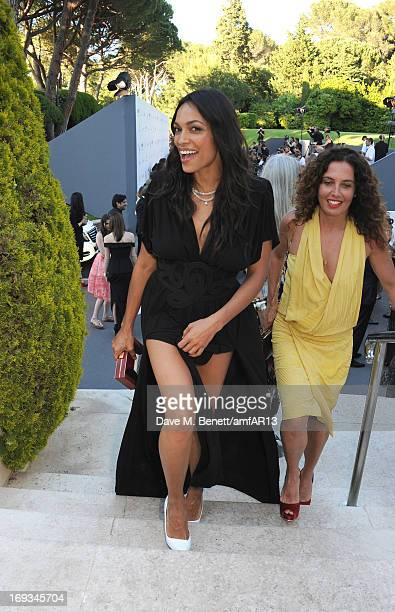 Actress Rosario Dawson and hairdresser Tara Smith attend amfAR's 20th Annual Cinema Against AIDS during The 66th Annual Cannes Film Festival at Hotel...