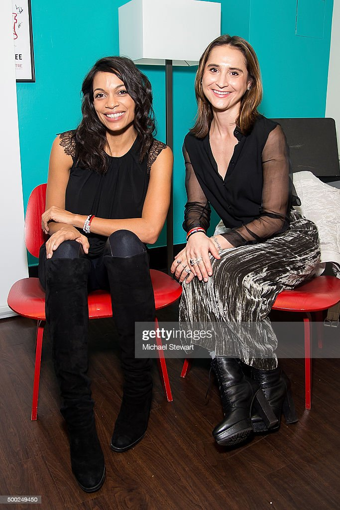 Actress Rosario Dawson (L) and host of 'Stand Out' podcast Natalia Brzezinski attend the ThankYou By Childhood USA Advocacy Campaign, #EyesWideOpen Initiative at the Miller Theater in West Harlem 2015 on December 6, 2015 in New York City.