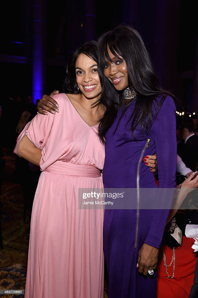Actress Rosario Dawson (L) and model Naomi Campbell attend the 2015 amfAR New York Gala at Cipriani Wall Street on February 11, 2015 in New York City.