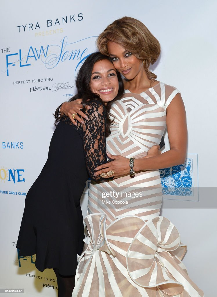 Actress <a gi-track='captionPersonalityLinkClicked' href=/galleries/search?phrase=Rosario+Dawson&family=editorial&specificpeople=201472 ng-click='$event.stopPropagation()'>Rosario Dawson</a> (L) and model/media personality <a gi-track='captionPersonalityLinkClicked' href=/galleries/search?phrase=Tyra+Banks&family=editorial&specificpeople=202216 ng-click='$event.stopPropagation()'>Tyra Banks</a> attend The Flawsome Ball For The <a gi-track='captionPersonalityLinkClicked' href=/galleries/search?phrase=Tyra+Banks&family=editorial&specificpeople=202216 ng-click='$event.stopPropagation()'>Tyra Banks</a> TZONE at Capitale on October 18, 2012 in New York City.