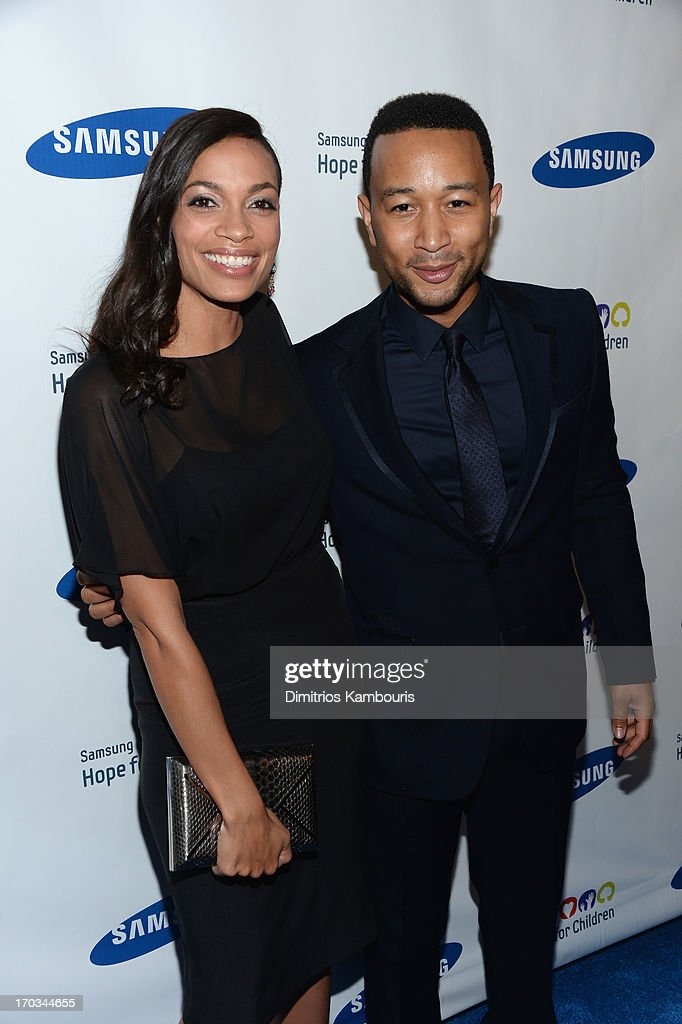 Actress <a gi-track='captionPersonalityLinkClicked' href=/galleries/search?phrase=Rosario+Dawson&family=editorial&specificpeople=201472 ng-click='$event.stopPropagation()'>Rosario Dawson</a> and singer <a gi-track='captionPersonalityLinkClicked' href=/galleries/search?phrase=John+Legend&family=editorial&specificpeople=201468 ng-click='$event.stopPropagation()'>John Legend</a> attend the Samsung's Annual Hope for Children Gala at Cipriani's in Wall Street on June 11, 2013 in New York City.