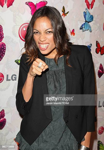 Actress Rosario Dawson arrives at LG Rumorous Night with Heidi Klum held at the Andaz Hotel on April 28 2009 in West Hollywood California