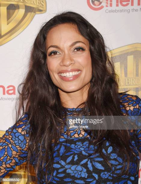 Actress Rosario Dawson arrives at the CinemaCon 2017 Warner Bros Pictures presentation of their upcoming slate of films at The Colosseum at Caesars...