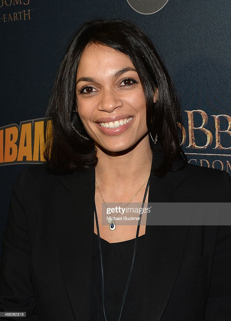 Actress <a gi-track='captionPersonalityLinkClicked' href=/galleries/search?phrase=Rosario+Dawson&family=editorial&specificpeople=201472 ng-click='$event.stopPropagation()'>Rosario Dawson</a> arrives at 'The Hobbit: The Desolation Of Smaug Expansion Pack' Kabam Mobile Game hits the red carpet at Eveleigh on December 11, 2013 in West Hollywood, California.
