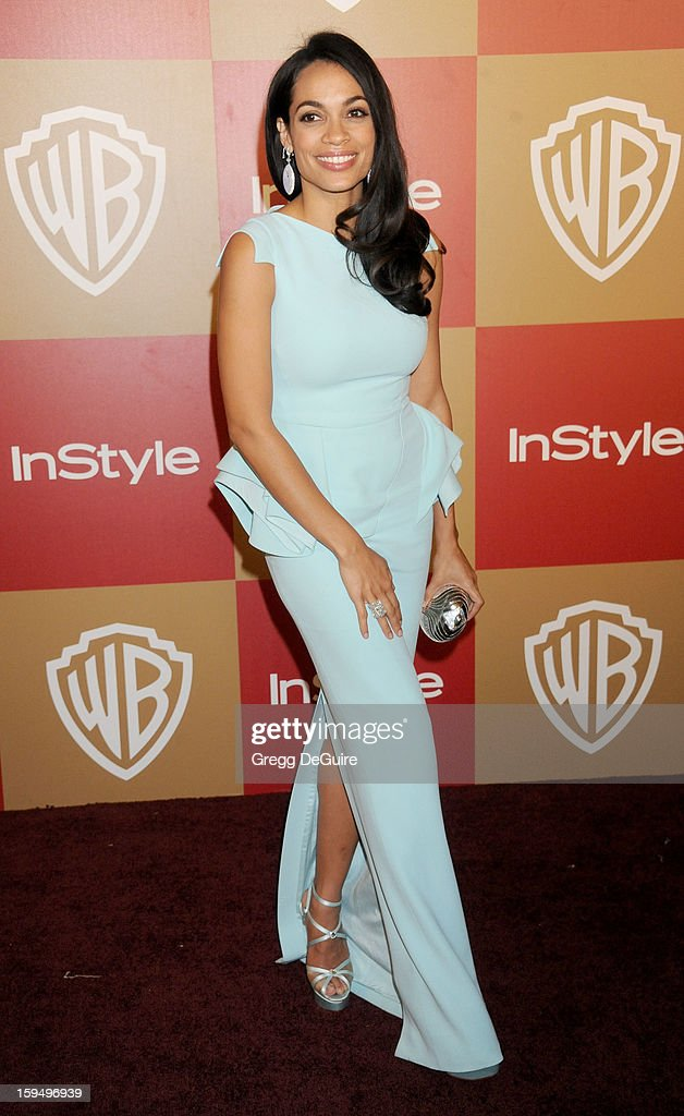 Actress Rosario Dawson arrives at the InStyle and Warner Bros. Golden Globe party at The Beverly Hilton Hotel on January 13, 2013 in Beverly Hills, California.