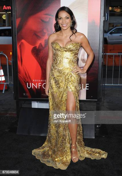 Actress Rosario Dawson arrives at the Los Angeles Premiere 'Unforgettable' at TCL Chinese Theatre on April 18 2017 in Hollywood California
