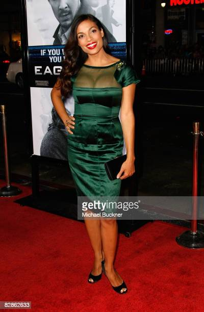 Actress Rosario Dawson arrives at the premiere of Dreamworks' 'Eagle Eye' at the Mann Chinese Theater on September 16 2008 in Los Angeles California