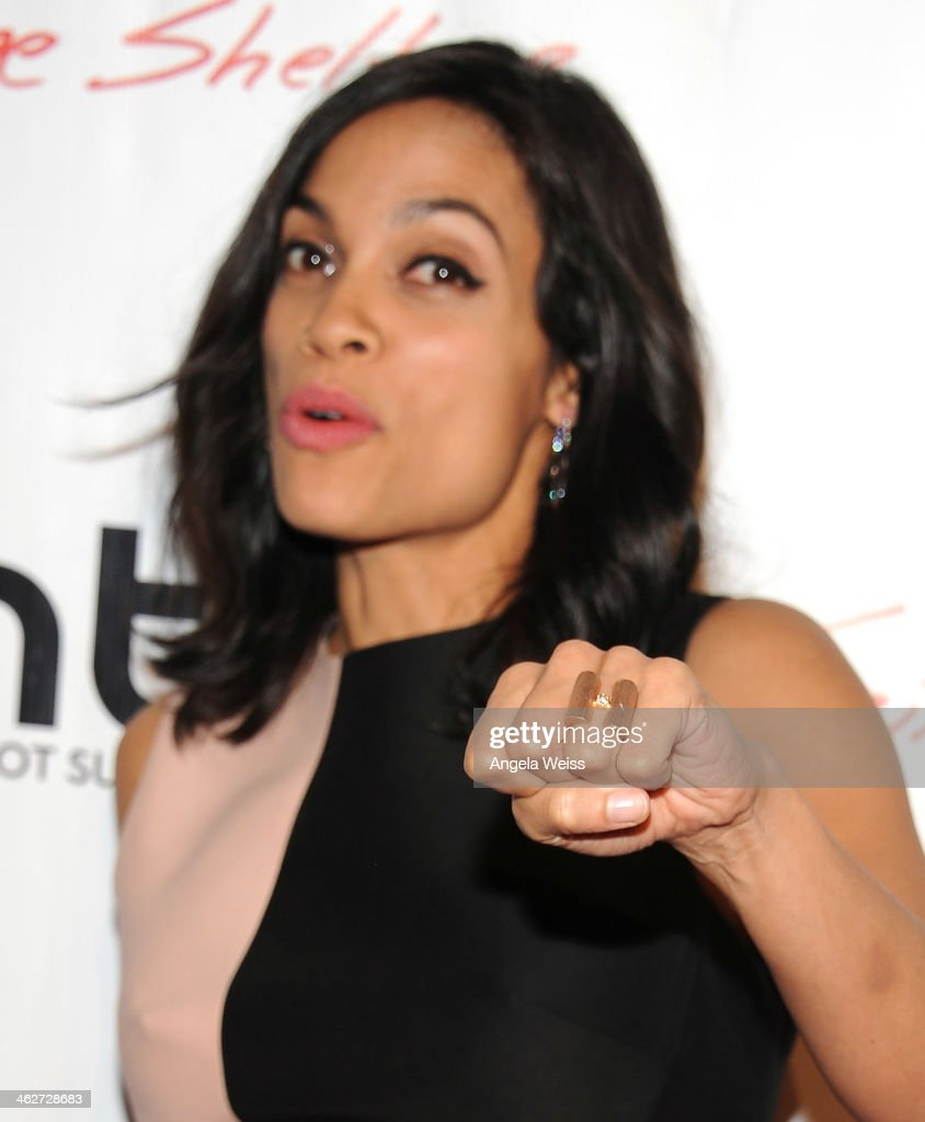 Actress Rosario Dawson arrives at the screening of Roadside Attractions & Day 28 Films 'Gimme Shelter' at the Egyptian Theatre on January 14, 2014 in Hollywood, California.