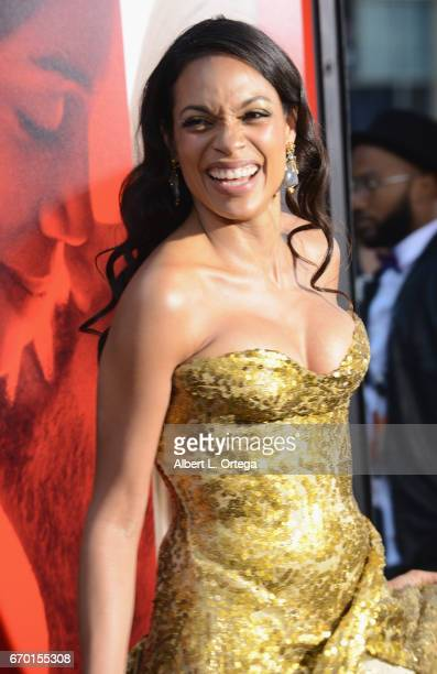 Actress Rosario Dawson arrives for the Premiere Of Warner Bros Pictures' 'Unforgettable' held at TCL Chinese Theatre on April 18 2017 in Hollywood...