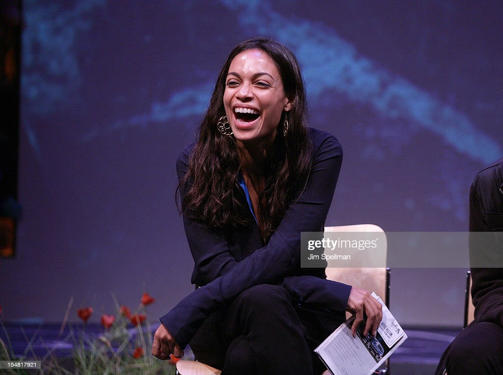 Actress <a gi-track='captionPersonalityLinkClicked' href=/galleries/search?phrase=Rosario+Dawson&family=editorial&specificpeople=201472 ng-click='$event.stopPropagation()'>Rosario Dawson</a> attends 'Emotional Creatures' Talkback Series at The Pershing Square Signature Center on October 26, 2012 in New York City.