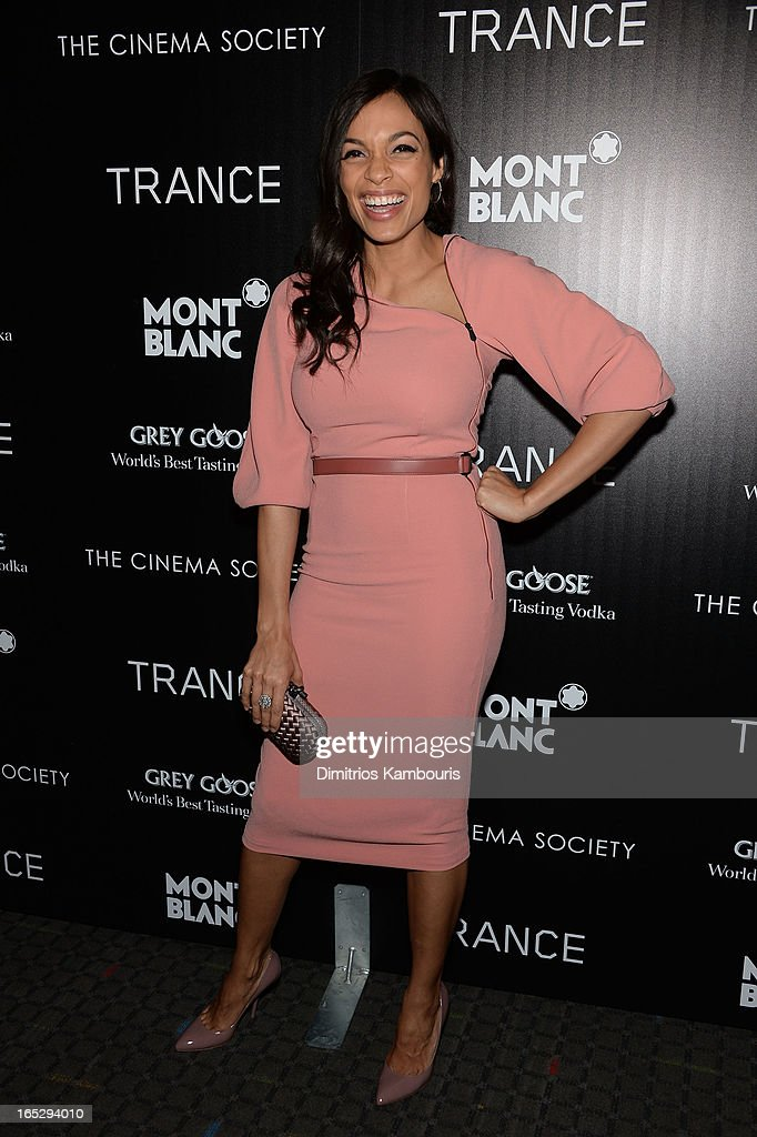 Actress <a gi-track='captionPersonalityLinkClicked' href=/galleries/search?phrase=Rosario+Dawson&family=editorial&specificpeople=201472 ng-click='$event.stopPropagation()'>Rosario Dawson</a> attends Fox Searchlight Pictures' premiere of 'Trance' hosted by the Cinema Society & Montblanc at SVA Theater on April 2, 2013 in New York City.
