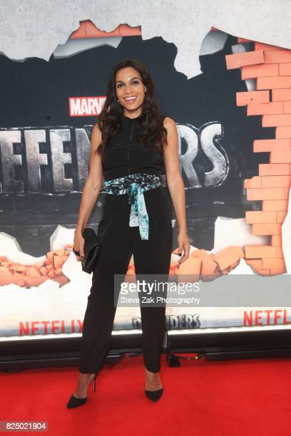 Actress Rosario Dawson attends 'Marvel's The Defenders' New York premiere at Tribeca Performing Arts Center on July 31 2017 in New York City