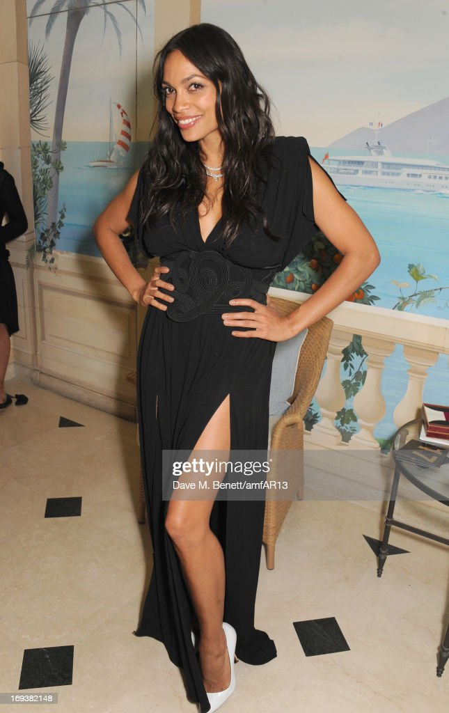 Actress <a gi-track='captionPersonalityLinkClicked' href=/galleries/search?phrase=Rosario+Dawson&family=editorial&specificpeople=201472 ng-click='$event.stopPropagation()'>Rosario Dawson</a> attends 'Moncler, The After Party To Benefit amfAR' during The 66th Annual Cannes Film Festival at Hotel du Cap-Eden-Roc on May 23, 2013 in Cap d'Antibes, France.