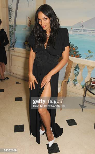 Actress Rosario Dawson attends 'Moncler The After Party To Benefit amfAR' during The 66th Annual Cannes Film Festival at Hotel du CapEdenRoc on May...