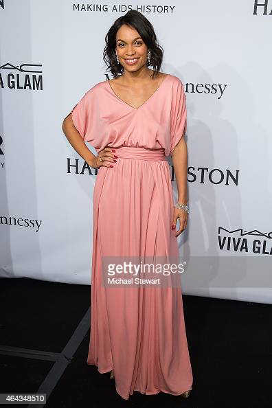 Actress Rosario Dawson attends the 2015 amfAR New York Gala at Cipriani Wall Street on February 11 2015 in New York City