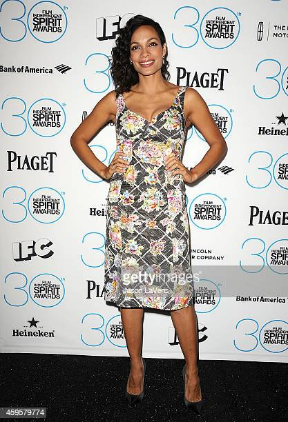 Actress Rosario Dawson attends the 30th Film Independent Spirit Awards nominations press conference at W Hollywood on November 25 2014 in Hollywood...