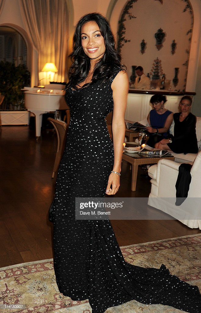 Actress <a gi-track='captionPersonalityLinkClicked' href=/galleries/search?phrase=Rosario+Dawson&family=editorial&specificpeople=201472 ng-click='$event.stopPropagation()'>Rosario Dawson</a> attends the 3rd Annual Finch's Quarterly Review Filmmakers Dinner honoring Oscar-winning British film producer Jeremy Thomas and sponsored by Tod's and the IWC at Hotel du Cap-Eden-Roc on May 14, 2011 in Cannes, France.