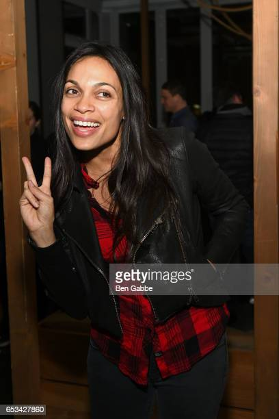 Actress Rosario Dawson attends the after party for the TriStar and Cinema Society screening of 'T2 Trainspotting' at Mr Purple at the Hotel Indigo...