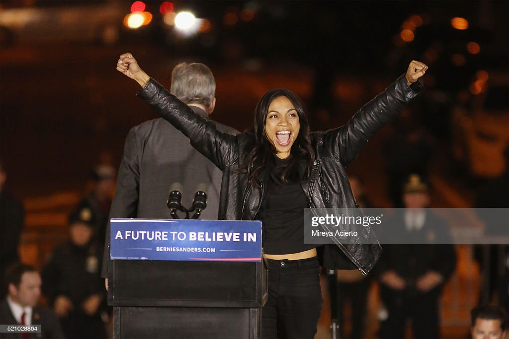 Actress Rosario Dawson attends the Bernie Sanders rally at Washington Square Park on April 13, 2016 in New York City.