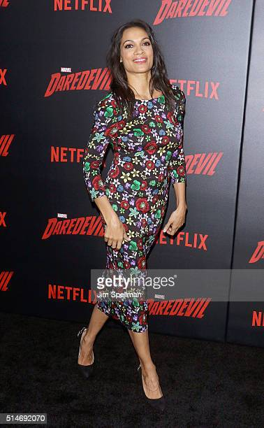 Actress Rosario Dawson attends the 'Daredevil' season 2 premiere at AMC Loews Lincoln Square 13 theater on March 10 2016 in New York City