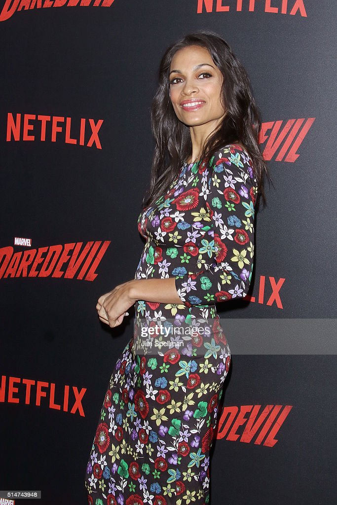 Actress Rosario Dawson attends the 'Daredevil' season 2 premiere at AMC Loews Lincoln Square 13 theater on March 10, 2016 in New York City.