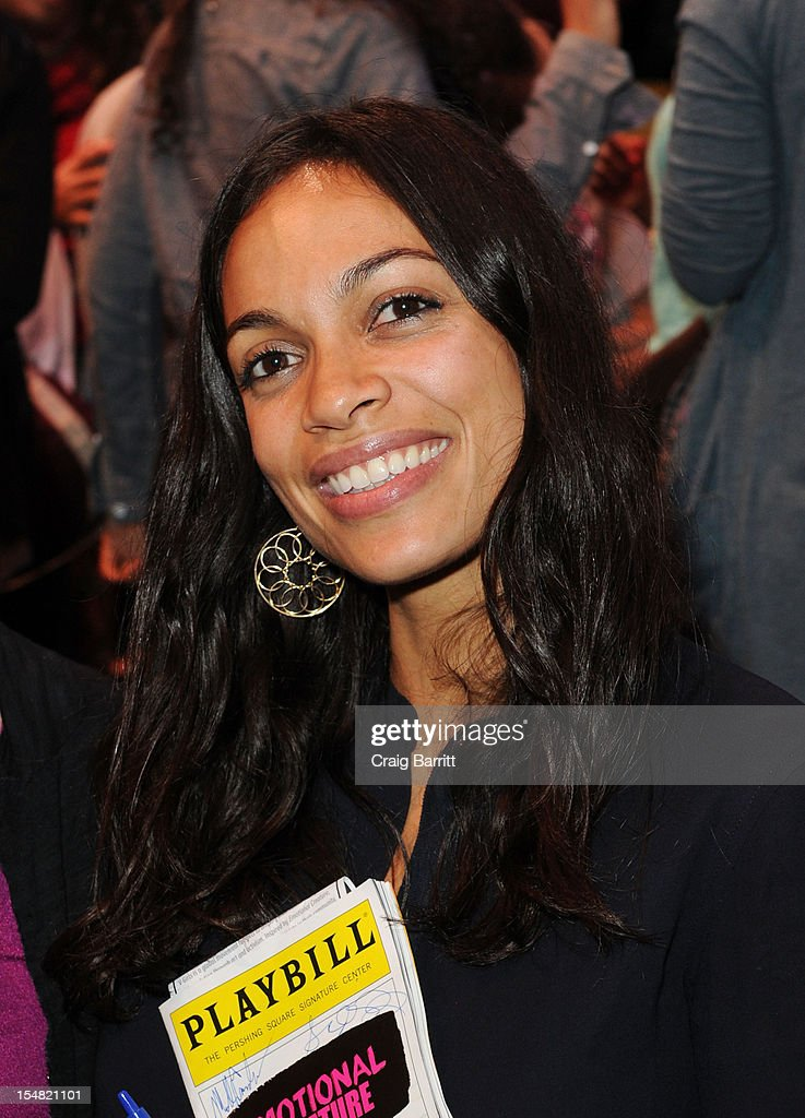 Actress <a gi-track='captionPersonalityLinkClicked' href=/galleries/search?phrase=Rosario+Dawson&family=editorial&specificpeople=201472 ng-click='$event.stopPropagation()'>Rosario Dawson</a> attends the 'Emotional Creatures' Talkback Series at The Pershing Square Signature Center on October 26, 2012 in New York City.