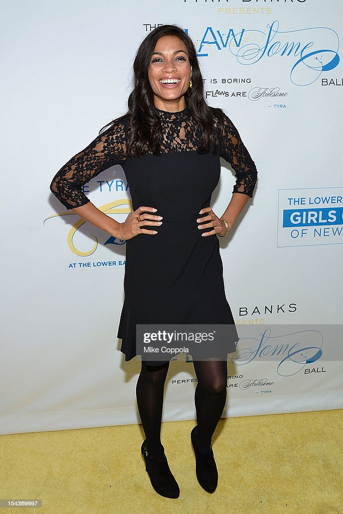 Actress <a gi-track='captionPersonalityLinkClicked' href=/galleries/search?phrase=Rosario+Dawson&family=editorial&specificpeople=201472 ng-click='$event.stopPropagation()'>Rosario Dawson</a> attends The Flawsome Ball For The Tyra Banks TZONE at Capitale on October 18, 2012 in New York City.