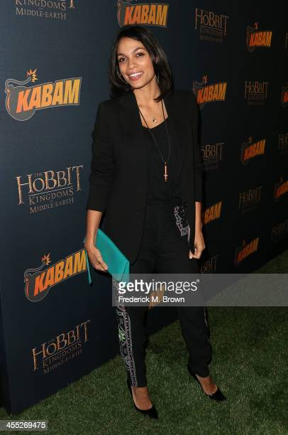 Actress Rosario Dawson attends 'The Hobbit The Desolation of Smaug' Expansion Pack Mobile Game Launch at Eveleigh on December 11 2013 in West...