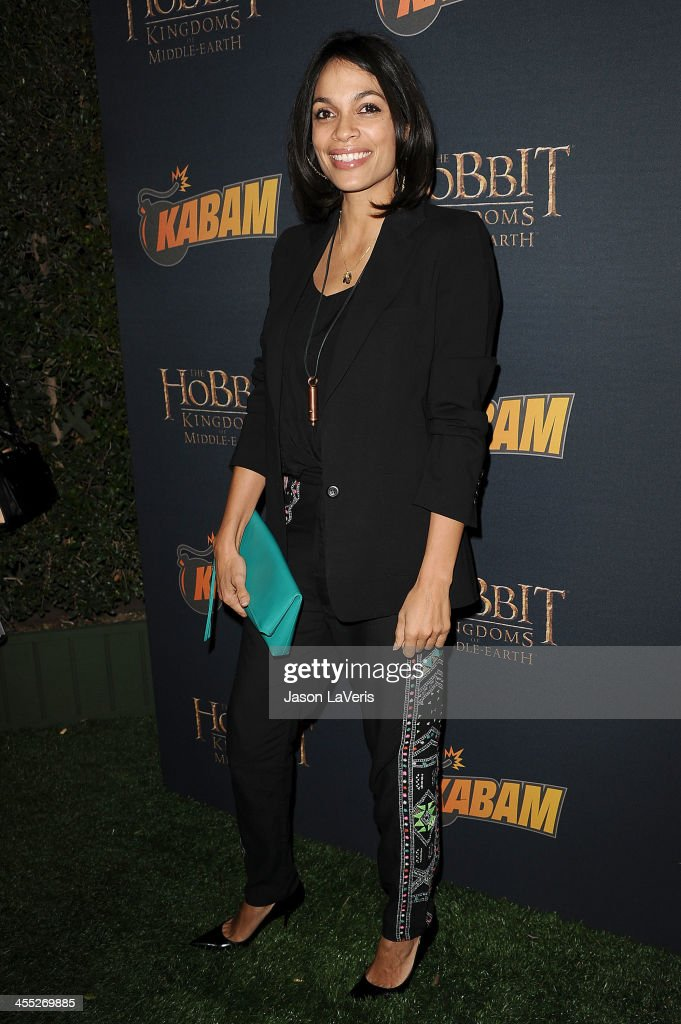 Actress <a gi-track='captionPersonalityLinkClicked' href=/galleries/search?phrase=Rosario+Dawson&family=editorial&specificpeople=201472 ng-click='$event.stopPropagation()'>Rosario Dawson</a> attends 'The Hobbit: The Desolation Of Smaug' expansion pack game launch at Eveleigh on December 11, 2013 in West Hollywood, California.