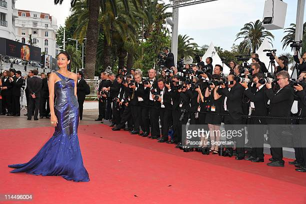 Actress Rosario Dawson attends the 'Les BienAimes' premiere at the Palais des Festivals during the 64th Cannes Film Festival on May 22 2011 in Cannes...
