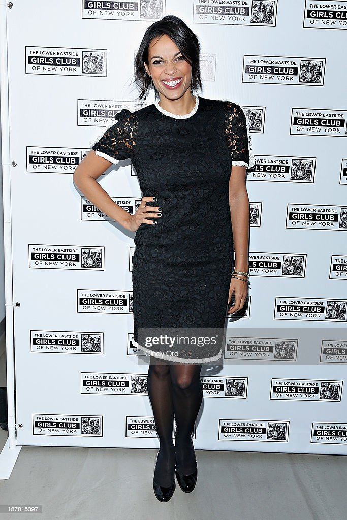 Actress <a gi-track='captionPersonalityLinkClicked' href=/galleries/search?phrase=Rosario+Dawson&family=editorial&specificpeople=201472 ng-click='$event.stopPropagation()'>Rosario Dawson</a> attends the Lower East Side Girls Club Grand Opening Gala on November 12, 2013 in New York City.