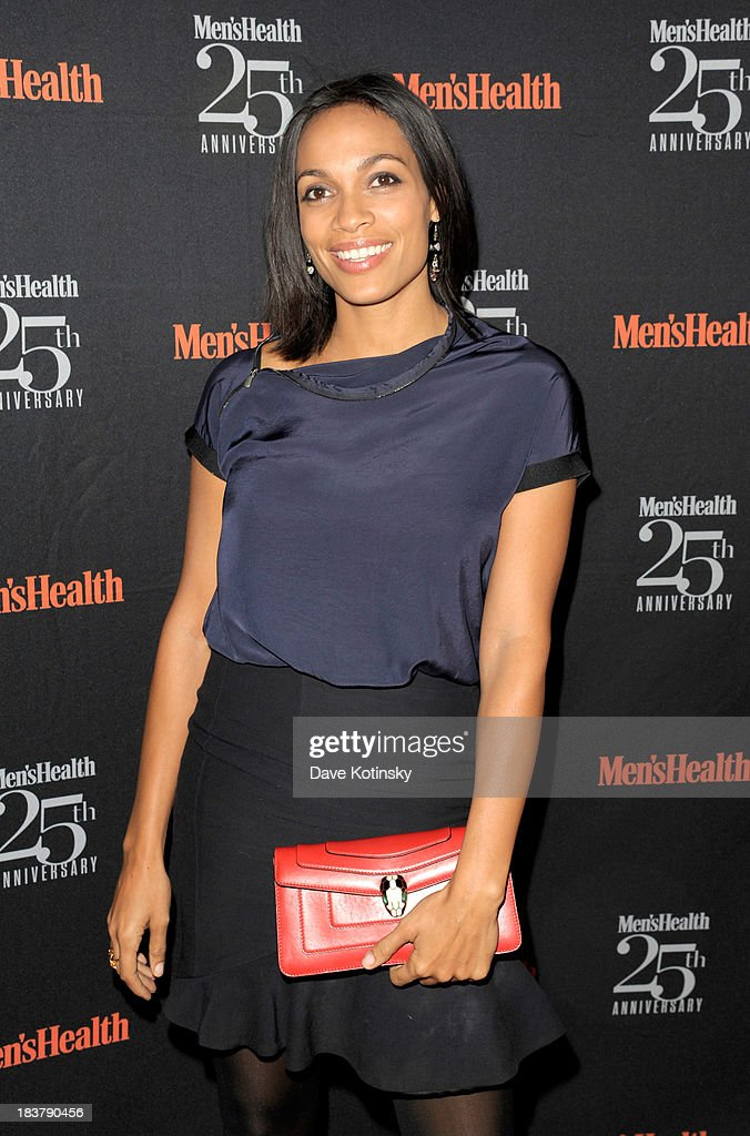 Actress <a gi-track='captionPersonalityLinkClicked' href=/galleries/search?phrase=Rosario+Dawson&family=editorial&specificpeople=201472 ng-click='$event.stopPropagation()'>Rosario Dawson</a> attends the Men's Health 25th anniversary celebration at Isola, Mondrian Soho Hotel on October 9, 2013 in New York City.