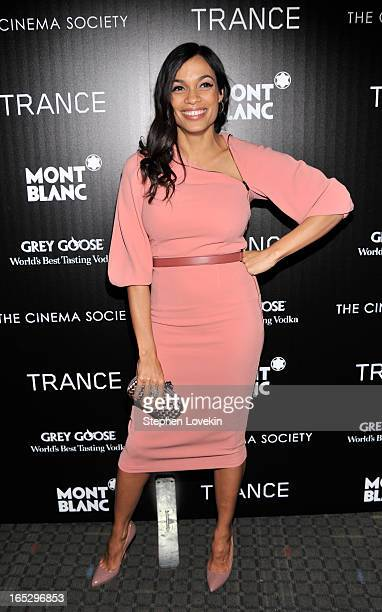Actress Rosario Dawson attends the premiere of Fox Searchlight Pictures' 'Trance' hosted by The Cinema Society Montblanc at SVA Theater on April 2...