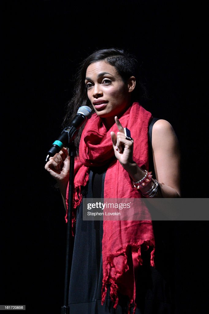 Actress <a gi-track='captionPersonalityLinkClicked' href=/galleries/search?phrase=Rosario+Dawson&family=editorial&specificpeople=201472 ng-click='$event.stopPropagation()'>Rosario Dawson</a> attends V-Day And One Billion Rising's RISE NYC at Hammerstein Ballroom on February 14, 2013 in New York City.
