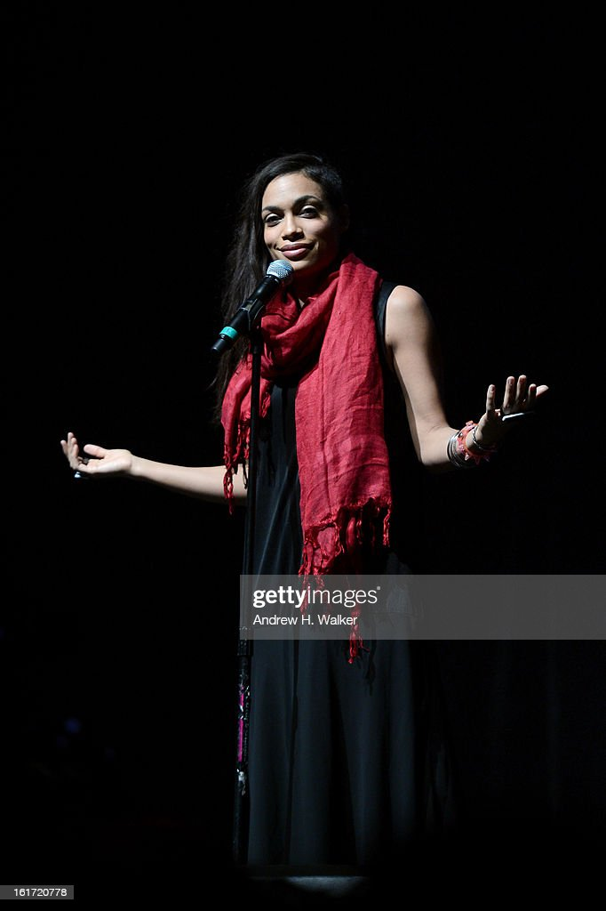 Actress <a gi-track='captionPersonalityLinkClicked' href=/galleries/search?phrase=Rosario+Dawson&family=editorial&specificpeople=201472 ng-click='$event.stopPropagation()'>Rosario Dawson</a> attends V-Day & One Billion Rising's RISE NYC at the Hammerstein Ballroom on February 14, 2013 in New York City.