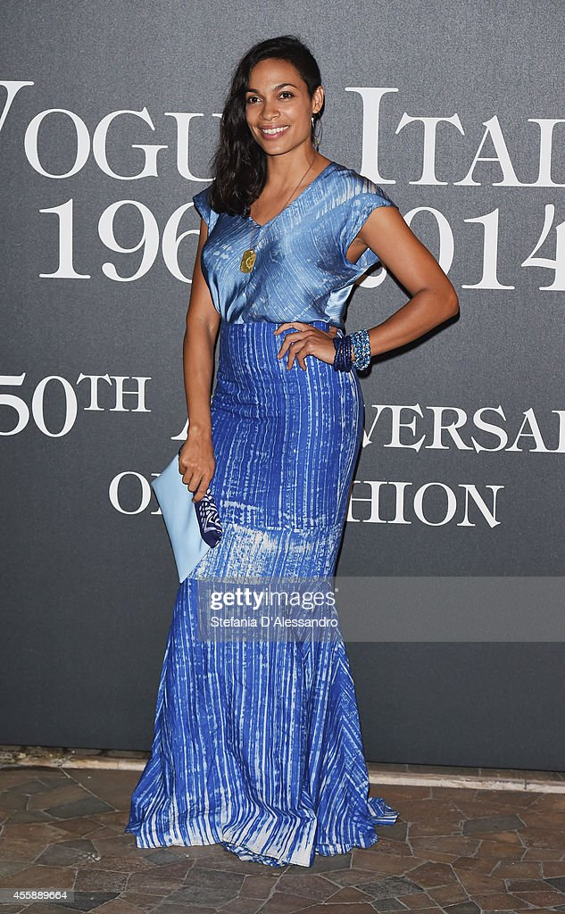 Actress Rosario Dawson attends Vogue Italia 50th Anniversary Event on September 21 2014 in Milan Italy